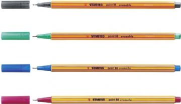 4 x STABILO POINT 88 ERASABLE FINELINER SUPERFINE 0.4MM (1 OF EACH COLOUR)
